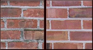 A wall before and after brick repair services in Seattle, WA